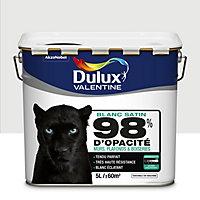 Peinture murs, plafonds et boiseries Dulux Valentine 98% monocouche blanc satin 5L