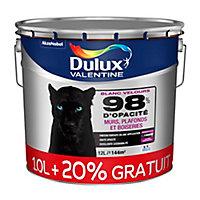 Peinture murs, plafonds et boiseries Dulux Valentine 98% monocouche blanc velours 10L +20% gratuit