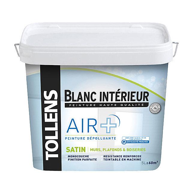 Peinture Murs Plafonds Et Boiseries Tollens Air Blanc Satin 5l Castorama