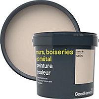 Peinture résistante murs, bois et métal GoodHome beige Santa Fe satin 5L