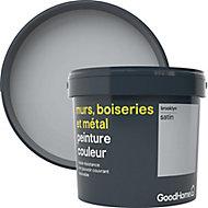 Peinture résistante murs, bois et métal GoodHome gris Brooklyn satin 5L