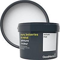 Peinture résistante murs, boiseries et métal GoodHome blanc North Pole mat 2,5L