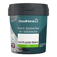 Peinture résistante murs, boiseries et métal GoodHome blanc North Pole satin 0,75L