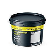 Peinture résistante murs boiseries et métal GoodHome blanc North Pole satin 2,5L +20%