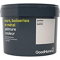 Peinture résistante murs, boiseries et métal GoodHome blanc Quebec satin 2,5L