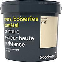 Peinture résistante murs, boiseries et métal GoodHome blanc Toronto mat 5L