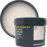Peinture résistante murs, boiseries et métal GoodHome blanc Valdez satin 2,5L