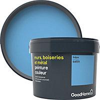 Peinture résistante murs, boiseries et métal GoodHome bleu Fréjus satin 2,5L