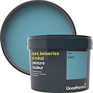 Peinture résistante murs, boiseries et métal GoodHome bleu Nice satin 2,5L