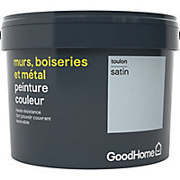 Peinture résistante murs, boiseries et métal GoodHome bleu Toulon satin 2,5L