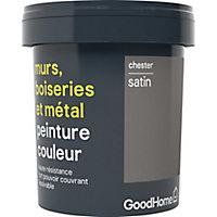 Peinture résistante murs, boiseries et métal GoodHome gris Chester satin 0,75L