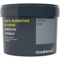 Peinture résistante murs, boiseries et métal GoodHome gris Cincinnati mat 2,5L