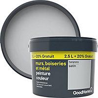 Peinture résistante murs boiseries et métal GoodHome gris Hamptons satin 2,5L +20%