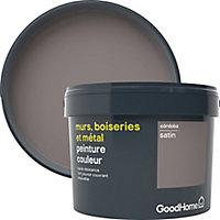 Peinture résistante murs, boiseries et métal GoodHome marron Cordoba satin 2,5L