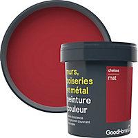 Peinture résistante murs, boiseries et métal GoodHome rouge Chelsea mat 0,75L
