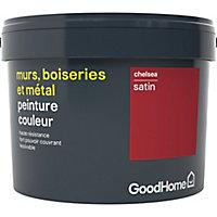 Peinture résistante murs, boiseries et métal GoodHome rouge Chelsea satin 2,5L