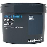 Peinture salle de bains GoodHome bleu Vence satin 2,5L