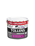 Peinture Tollens blanc velours monocouche 10L +20% gratuit