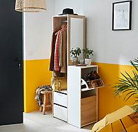 Penderie décor chêne et blanc l. 69,5 x P. 40 x H. 178,3 cm + range-chaussures à 2 compartiments