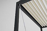 Pergola manuelle bioclimatique adossée Salto gris 4,13 x 3,08 x h.2,50m