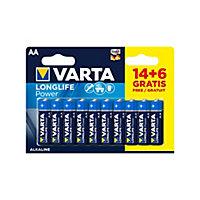 Pile alcaline Varta Long-life Power AA-LR6, lot de 20