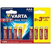 Pile Varta Max Tech AAA - LR03 - lot de 6 + 2 gratuites