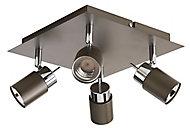 Plafonnier 4 spots Hades métal gris/chrome LED 4x3,5 W