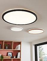 Plafonnier Yonnet LED intégrée Ø60cm IP20 3500lm 30W Blanc froid & blanc chaud Noir