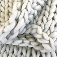 Plaid grosse maille acrylique 130x150cm blanc