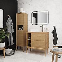 Plan de toilette GoodHome Avela placage chêne 80 cm