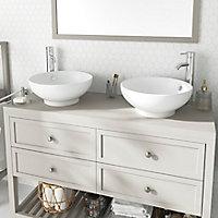 Plan de toilette GoodHome Perma taupe 120 cm