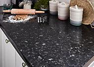 Plan de travail en stratifié aspect granit noir GoodHome Kabsa 300 cm x 62 cm x ép. 3.8 cm