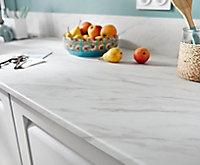 Plan de travail en stratifié aspect marbre blanc GoodHome Algiata 300 cm x 62 cm x ép. 2.2 cm