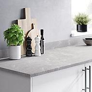 Plan de travail en stratifié aspect marbre gris GoodHome Algiata 300 cm x 62 cm x ép. 2.2 cm