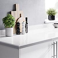 Plan de travail en stratifié aspect verre blanc GoodHome Berberis 300 cm x 62 cm x ép. 3.8 cm