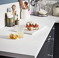 Plan de travail en stratifié blanc mat GoodHome Berberis 300 cm x 62 cm x ép. 3.8 cm