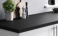 Plan de travail en stratifié noir mat GoodHome Berberis 300 cm x 62 cm x ép. 3.8 cm