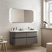 Plan double vasque en résine blanc Cooke & Lewis Voluto 123 cm
