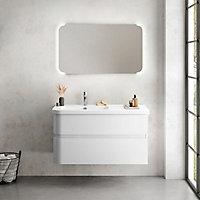 Plan vasque blanc version gauche Cooke & Lewis Voluto 108 cm