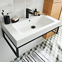 Plan vasque en résine blanc à encastrer GoodHome Duala l. 60 cm