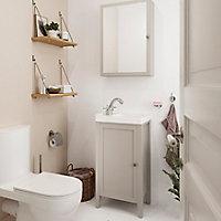 Plan vasque lave-mains blanc GoodHome Lana L. 30,7 x H. 14,2 x P. 30,7 cm