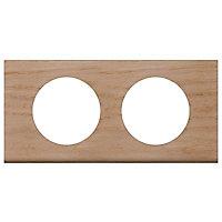 Plaque de finition double Legrand Céliane matière chêne blanchi