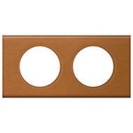 Plaque de finition double Legrand Céliane matière cuir caramel