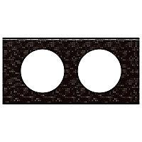 Plaque de finition double Legrand Céliane matière cuir pixels