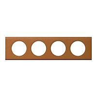 Plaque de finition quadruple Legrand Céliane matière cuir caramel