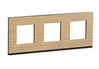 Plaque de finition SCHNEIDER ELECTRIC Unica chêne 3 postes