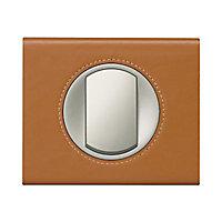 Plaque de finition simple Legrand Céliane matière cuir caramel