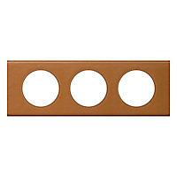 Plaque de finition triple Legrand Céliane matière cuir caramel