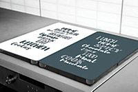 """Plaque de protection verre trempé Cook décor """"cuisine"""" , 2 pièces"""