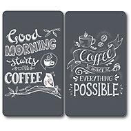 """Plaque de protection verre trempé décor """"Coffee"""", 2 pièces"""